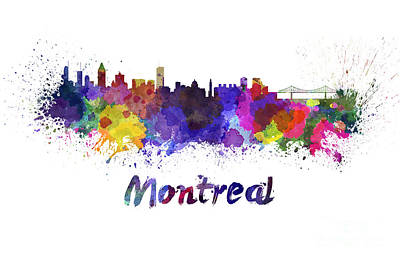 Montreal Skyline In Watercolor Poster by Pablo Romero