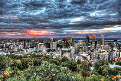 Montreal Skyline Sunset From Mount Royal Poster