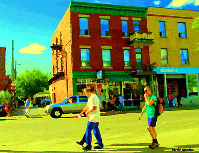 Montreal Street Scene Strolling St Viateur Across The Bagel Shop And Davids Tea Carole Spandau  Poster