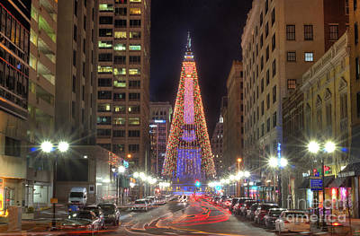 Monument Circle Christmas Tree Poster