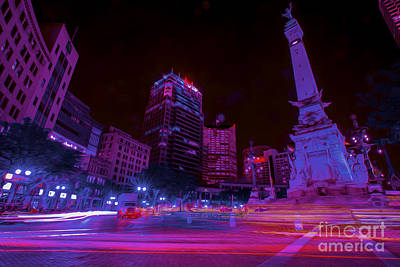 Monument Circle Indianapolis Light Streaks Night Poster