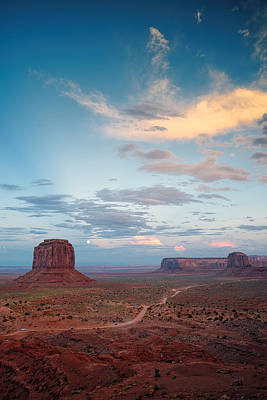 Monument Valley Full Moon Buttes And Mesas. Poster
