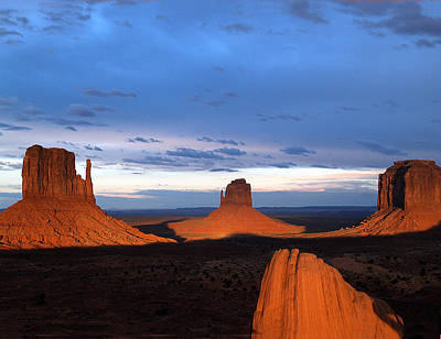Poster featuring the photograph Monument Valley @ Sunset 2 by Jeff Brunton