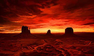 Poster featuring the painting Monument Valley Sunset by Tim Gilliland