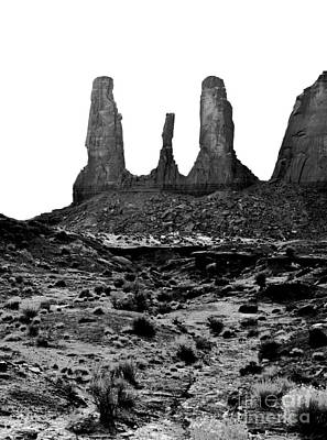 Monument Valley Three Sisters Sandstone Spire Formation Black And White Conte Crayon Digital Art Poster by Shawn O'Brien