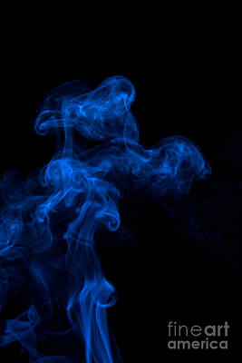 Abstract Vertical Paris Blue Mood Colored Smoke Art 03 Poster