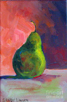 Poster featuring the painting Moody Pear by Sandy Linden