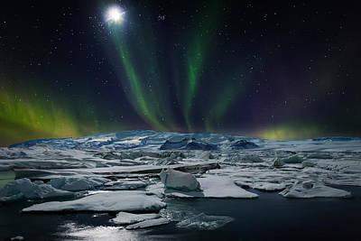 Moon And Aurora Borealis, Northern Poster