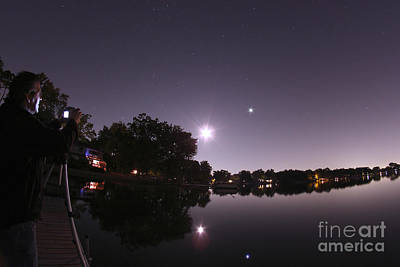 Moon And Jupiter Over Lake Poster