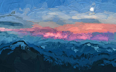 Moon And Mountains Landscape Poster