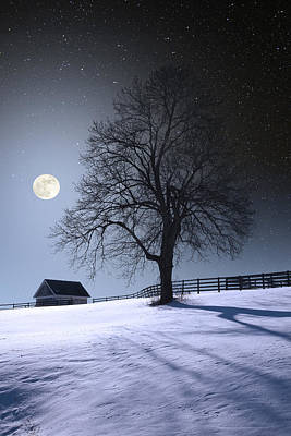 Poster featuring the photograph Moon And Snow by Larry Landolfi