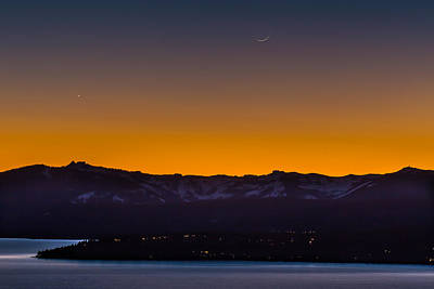 Moon And Venus Above Lake Tahoe Poster by Marc Crumpler