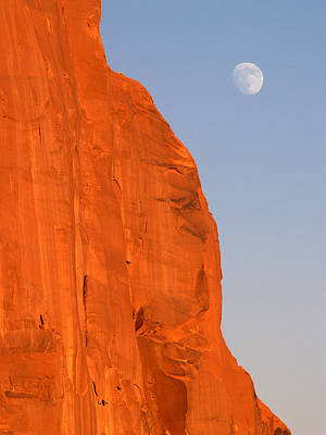 Moon At Monument Valley Poster