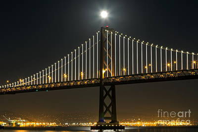 Poster featuring the photograph Moon Atop The Bridge by Kate Brown