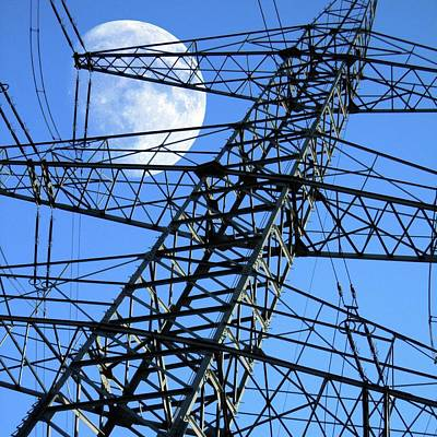 Moon Behind Electricity Pylons Poster