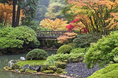 Moon Bridge And Autumn Colors, Portland Poster