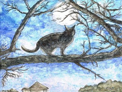 Moon Cat Poster by Teresa White