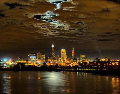 Moon Clouds Over Cleveland Poster