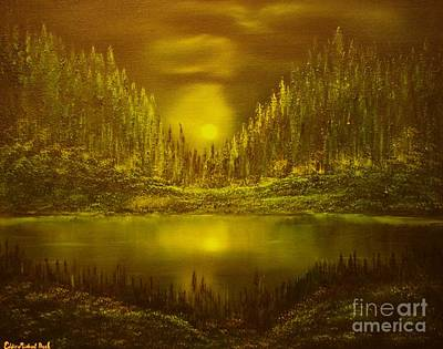 Moon Lake Reflection-original Sold- Buy Giclee Print Nr 33 Of Limited Edition Of 40 Prints  Poster