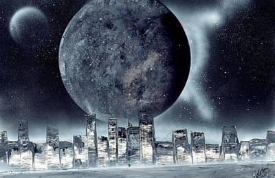Moon Lit City Poster by Marc Chambers
