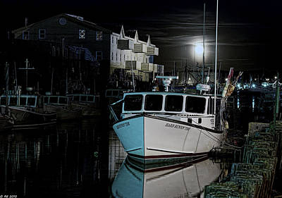 Poster featuring the photograph Moon Lit Harbor by Richard Bean