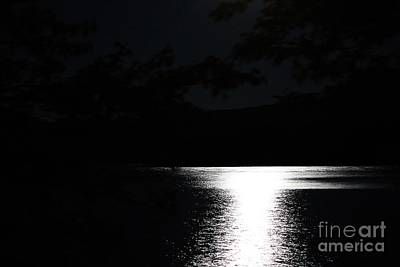 Moon On Waterton Lake Poster