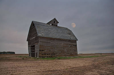 Moon Over Abandoned Iowa Corn Crib Poster