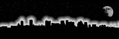 Moon Over Boston Skyline In Black And White Poster