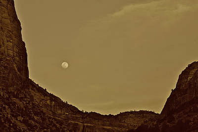 Moon Over Crag Utah Poster