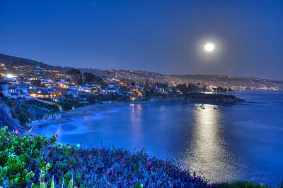 Moon Over Crescent Bay Beach Poster