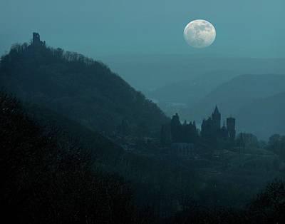Moon Over Drachenfels Castles Poster by Detlev Van Ravenswaay