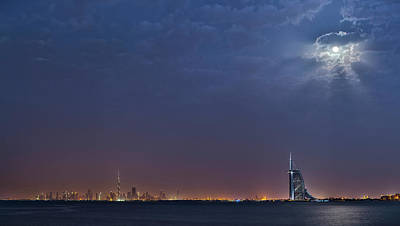 Moon Over Dubai Skyline Poster by Babak Tafreshi