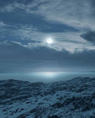 Moon Over Frozen Landscape Poster by Detlev Van Ravenswaay