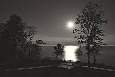 Moon Over Lake Michigan In  Black And White Poster