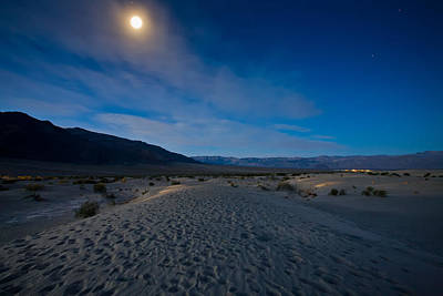 Moon Over Mesquite Flats Dunes Poster by Peter Tellone