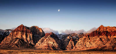 Moon Over Red Rock Canyon Poster