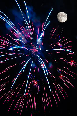 Moon Over Red White And Blue Starburst- July Fourth - Fireworks Poster by Penny Lisowski