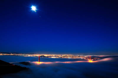 Moon Over San Francisco In Fog Poster