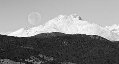 Moon Over Snow Covered Twin Peaks Bw Panorama Poster