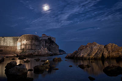 Moon Over The Bay - Dubrovnik Poster