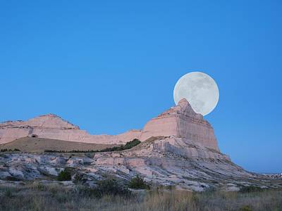 Moon Over The Monument Poster by HW Kateley