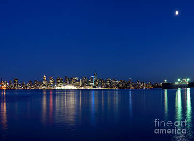 Moon Over Vancouver Skyline Poster by Terry Elniski