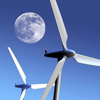 Moon Over Wind Turbines Poster by Detlev Van Ravenswaay