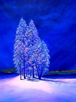 Moon Peeking At Frosty Trees Poster