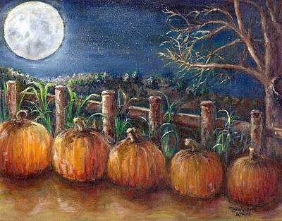 Poster featuring the painting Moon Pumpkin Harvest by Bernadette Krupa