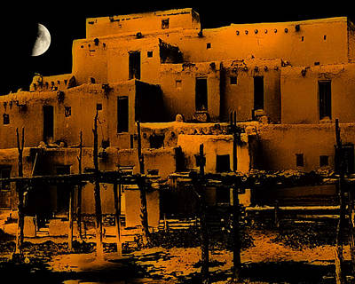 Moon Rise At The Pueblo Poster