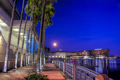 Moon Rise Over Harbor Island Poster