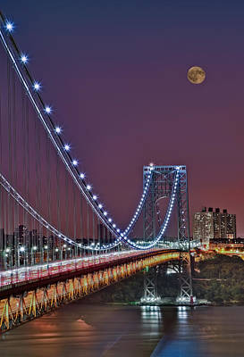 Moon Rise Over The George Washington Bridge Poster
