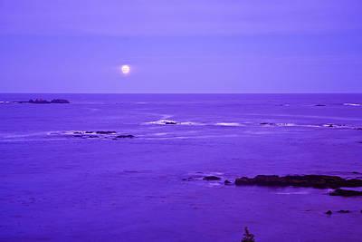 Moon Rises Over Monashka Bay At Ft Poster by Michael DeYoung