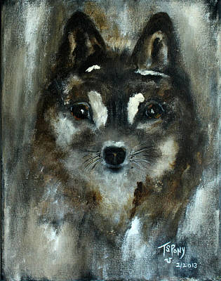 Poster featuring the painting Moon Shadow The Baby Fox by Barbie Batson